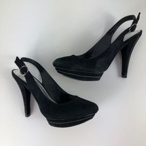 Vintage BCBG Paris Heels in Black Suede Size 6